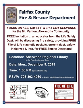FREE Seminar on Fire Safety, 9-1-1 EMT Response & Free Smoke Detectors